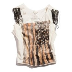 THE FESTIVAL COLLECTION - US TOUR CAP-SLEEVE TEE WITH CHAINS (€52) ❤ liked on Polyvore featuring tops, t-shirts, shirts, blusas, round neck t shirt, fringe t shirt, american flag shirt, american flag t shirt and fringe shirts