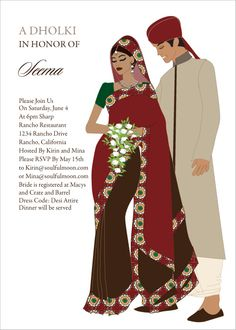 Sari Couple Indian Bridal Shower Invitations by #Soulfulmoon