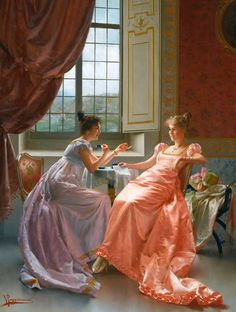 An Amusing Letter. Vittorio Reggianini (Italian, 1858-1938). Oil on canvas. Reggianini specialized in genre subjects including elegant scenes of bourgeois life, figure compositions, as well as more humble interiors with peasants. Reggianini combined fantasy with reality, sensuality with sensibility and above all, like many of the Florentine historical genre painters. furnished his costume pieces in luxury.