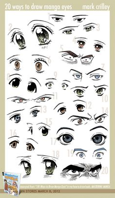 Manga Drawing Tips 20 Ways to Draw Manga Eyes by ~markcrilley on deviantART - Drawing Techniques, Drawing Tips, Drawing Reference, Drawing Sketches, Sketching, Drawing Skills, Pencil Drawings, Drawing Ideas, Manga Eyes