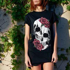 Match your mood corvidculture.com #roses #skulls #womens #fashion #dark #spooky #black #tee