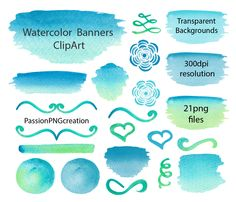 Watercolor Banners, Stripes, Watercolor Clipart, Elements, hand painted, Watercolour, Watercolor Elements, Personal and Commercial Use by PassionPNGcreation on Etsy https://www.etsy.com/listing/215089102/watercolor-banners-stripes-watercolor