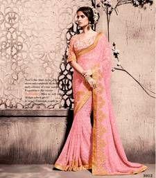 Buy baby_pink hand_woven georgette Saree with blouse banarasi-silk-saree online