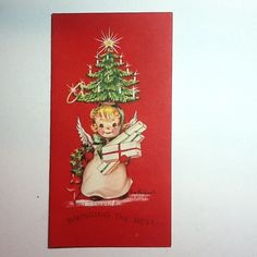 Vintage Eve Rockwell Xmas Greeting Card Angel Wearing Tree Hat Carrying Gifts | eBay