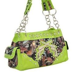 Lime Green Camo Fashion Double Pistol Purse With Rhinestones On Sale: $35.98