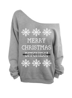 Merry Christmas Btches  Ugly Christmas Sweater  by DentzDesign, $29.00