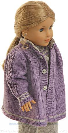 Tricoter des vêtements pour poupée - Joli manteau d'automne et chapeau dans de…