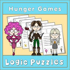 Logic puzzles with the characters from the Hunger Games. This set of logic puzzles provides practice in reading accuracy and higher order thinking skills. Students must read attentively to find out the precise position of each character.   Important words to practice in these logic puzzles are:  - next to - between - on the left/right - in the middle and especially: - not