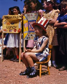 Miss Liberty May 1942. Emily Schwak, Queen of the May at the Beecher Street School in Southington, Connecticut, where the children put on a patriotic display. 4x5 Kodachrome transparency by Fenno Jacobs.