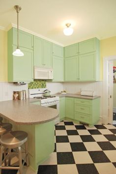 Black and white offsets the mint-green cabinets in a Victorian kitchen rehab.which is why I want black & white tiles! Colorful Kitchen Decor, Kitchen Colors, Home Decor Kitchen, Kitchen Furniture, Kitchen Design, Kitchen Stuff, Bedroom Furniture, Furniture Ideas, Diner Kitchen