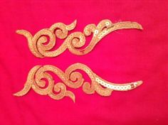 Gold sequin embroidery patch lace applique #motif dress #irish dance #costume,  View more on the LINK: http://www.zeppy.io/product/gb/2/191719302247/