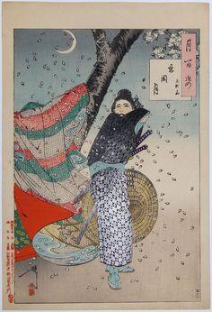 YOSHITOSHI Tsukioka. (1839-1892)Shinobugaoka Moon. 1889.