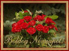 Névnapi képeslap, piros rózsacsokorral