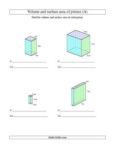 New 2013-11-17! Volume and Surface Area of Rectangular Prisms with Whole Numbers (A)