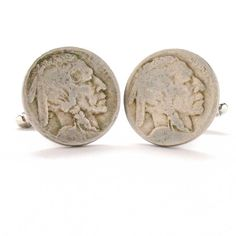 Indian Cufflinks Cuff Links Buffalo Nickle Coin Native American Cowboy Vintage Antique Suit