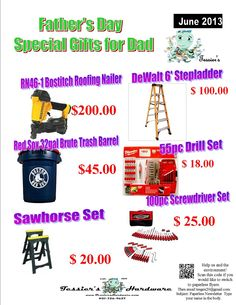 June 2013 Monthly Doorbusters, Father's Day Specials, and New Website and Online Shopping | Tessier's Hardwares' Blog