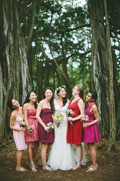 bridesmaids in pink hues // photo by Pat Furey // View more: http://ruffledblog.com/hawaiian-island-wedding/
