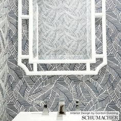 1 new message Bathroom Wallpaper Inspiration, Bamboo Wallpaper, Powder Room Wallpaper, Bamboo Mirror, Tiny Bathrooms, White Mirror, Wall Molding, Leaf Coloring, Inspirational Wallpapers
