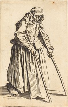 Beggar Woman with Crutches | Jacques Callot, Beggar Woman with Crutches (ca. 1622)