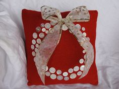 Upcycled Sweater Christmas Pillow with White Button Wreath and Sparkly Bow. Christmas Pillow, Winter Christmas, Christmas Stockings, Christmas Sweaters, Christmas Gifts, Handmade Christmas Decorations, Holiday Decor, Button Wreath, Pillow Crafts