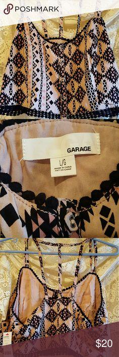 Garage crop top Tan creme black crop.top 3 straps.on.back top and bottom have beautiful black fabric balls nwt. Large junior Garage Tops Crop Tops