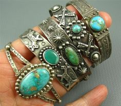 Old Navajo Fred Harvey Sterling Turquoise 5 Cuff Lot 78 Grams Dogs Arrows Bumps Navajo Jewelry, Southwest Jewelry, Boho Jewelry, Silver Jewelry, Jewelry Accessories, Vintage Jewelry, Fashion Jewelry, Jewlery, Silver Cuff