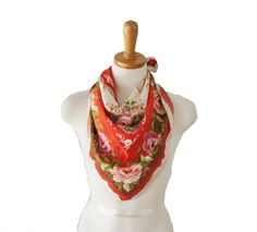 Vintage Western Inspired Rose Scarf  1950s by bluebutterflyvintage