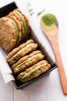 Healthy Matcha Filled Oatmeal Cream Pies (gluten-free & refined sugar-free) — Peanut Butter Plus Chocolate Baking Recipes, Cookie Recipes, Dessert Recipes, Kitchen Recipes, Gourmet Cookies, Gluten Free Desserts, Vegan Desserts, Plated Desserts, Homemade Oatmeal Cookies