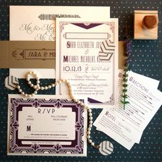 Art deco wedding invitations inspired by the Great Gatsby & roaring twenties. Vintage custom wedding suite with layers and textured paper.
