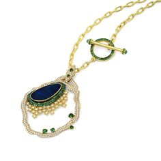 19K yellow gold necklace with 2.78 carat round brilliant cut diamonds, 0.46 carat rose cut diamonds, 2.18 carat tsavorite and 3.96 carat center australian opal.(25071) #michaeljohnjewelry