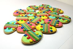 """Milk Arrowroot Biscuits """"Easter Eggs"""" Easy activity for the kids to do with icing/mini M&Ms/sour straps."""