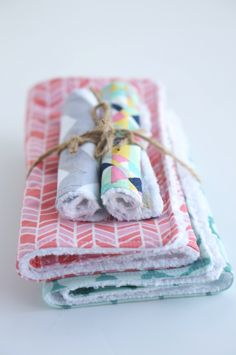 Burp cloths and wash cloths.  Great baby shower idea.