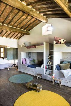 toscane-home- Bunk Beds Home Interior, Interior Architecture, Interior Design, Bunk Rooms, Bunk Beds, Brick Design, Up House, Tuscan Style, Mediterranean Style