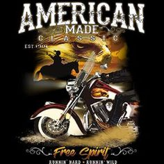 American Made Classics Free Spirit Adult Unisex Quality Motorcycle Long or Short Sleeve T Shirt 20329 Harley Davidson Pictures, Harley Davidson Dyna, Harley Dealer, Royal Enfield Accessories, Road King Classic, Motorcycle Style, American Made, Free Spirit, Colorful Shirts