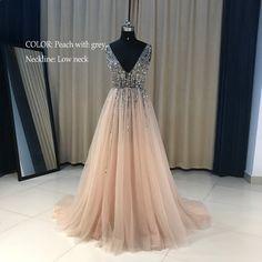 95d65dfa22 Real High Split Estélyi ruhák Tulle A vonal szürke gyöngyház hosszú estélyi  ruha 2017 Spagetti szalag V Nyaklánc vestidos de noche largos