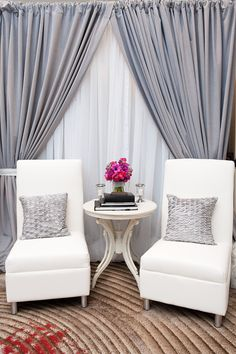 """Sophistication Modern Chair set up designed by Cherry Blossom Events. Would it be weird to make a """"fake window"""" in my windowless entry way? Home Living Room, Living Room Decor, Living Spaces, Dining Room, Small Living, Bedroom With Sitting Area, Sitting Rooms, Piano Room, Interior Decorating"""