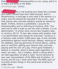 """I need more than """"the bible says so"""""""