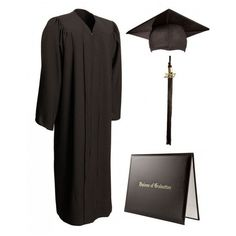 Matte Black Cap, Gown, Tassel Diploma Cover (100 BRL) ❤ liked on Polyvore featuring accessories, hats, graduation, dresses, cap hats, graduation cap, formal hats, tasseled cap and tassel hat