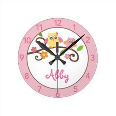 Girls Mod Owl Personalized Nursery Wall Clock