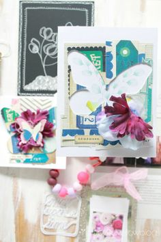 Inspiration-boards5 - use negative of die cuts, piece diff. papers together to recreate cut out - layer folded silk flowers into collage