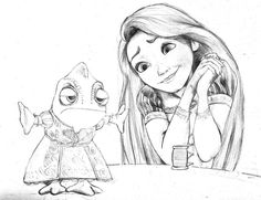Sexy Pencil Drawings and Sketching | Rapunzel And Pascal - Pencil Sketch by guyx23 on deviantART