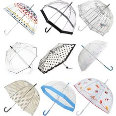 Cute Clear Umbrellas   I like the dot and cage one I can DIY my clear umbrella should I get bored.