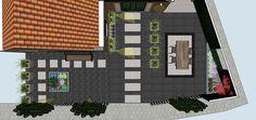 Tuinontwerp Voortuin Volendam. De entree met de grote grijze tegels tussen de strakke waalformaat oogt statig en luxe