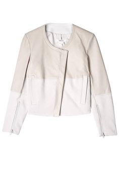 Helmut Lang leather jacket.  25 Of The Summer's Most Stylish Jackets. Pale leathers and pretty prints transform biker and bomber silhouettes into the perfect staples for the season. Here, we round up our favorite warm-weather options.  Read more: Womens Designer Leather Jackets - Womens Summer 2013 Bomber Jackets