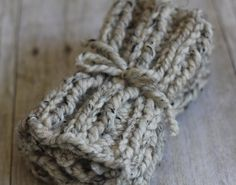 Knit Boot Socks Cuffs in Chunky Ribbed Oatmeal by CuddleMeKnits, $25.00