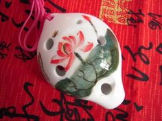 Amazon.com: 6 Holes Alto C Ceramic Ocarina Hand-paint Lotus W/crackles in the Middle Section: Musical Instruments