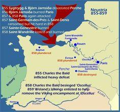 Carte Viking raids Neustrie 855-859 -6)  RAIDS VIKINGS EN POITOU ET CHARENTE: *865: Incendie de la ville de POITIERS; -*867: Défaite par le comte d'Angoulême VULGRIN, commandant l'Angoumois, le Périgord et la Saintonge, puis GUILLAUME TAILLEFER. - *868: Défaite par le comte de Poitiers.