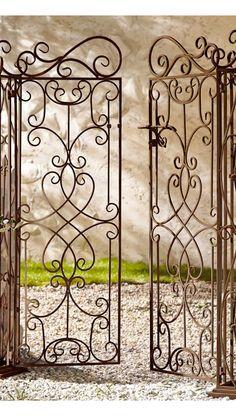 Antique brown iron garden edging