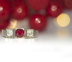 Cushion Cut Red Spinel .62ct, Brilliant Diamond Shoulders .46ct TDW Box Grain Set on 18ct White Gold #Filigreefinejewels #colouredstones #red #christmas  #spinel #ring #engagementring #engagement #diamonds #fashion #love #red #gems #christchurch #christchurchjewellery #jewellery #jewellerylove #bespoke #finejewelry #jewels #handmade #handcrafted #jewelrydesigner #whitegold #gold Red Spinel, Fine Jewelry, Jewellery, Brilliant Diamond, Gem S, Cushion Cut, Red Christmas, Filigree, Bespoke