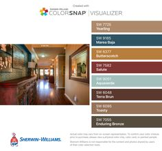 I found these colors with ColorSnap® Visualizer for iPhone by Sherwin-Williams: Yearling (SW 7725), Marea Baja (SW 9185), Butterscotch (SW 6377), Salute (SW 7582), Aquaverde (SW 9051), Terra Brun (SW 6048), Toasty (SW 6095), Enduring Bronze (SW 7055).